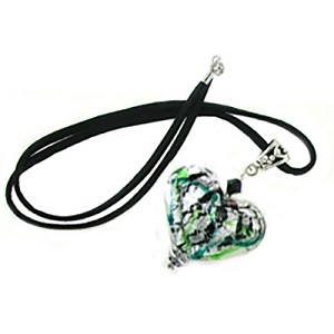 Silver Murano Glass Double Heart Pendant with 16 Inch Satin Rat Tail Cord and Sterling Silver