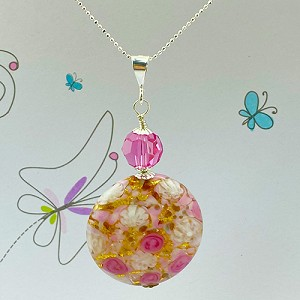 Pink Roses with White Lace and 24kt Gold Foil Pendant with 18 Inch Chain