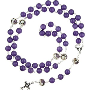 Murano Glass Bead Rosary, Maryann, Purple with a 22Kt Gold Plated Cross