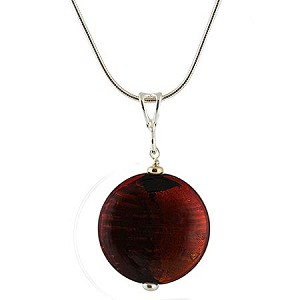 Murano Glass Pezzi Disc Pendant - Red over Gold and Silver