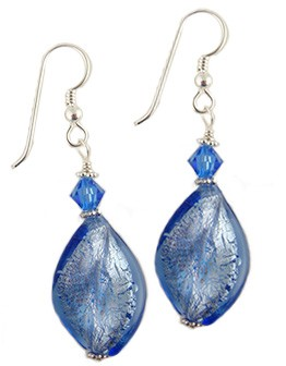 Blue Twist White Gold Venetian Glass Earrings