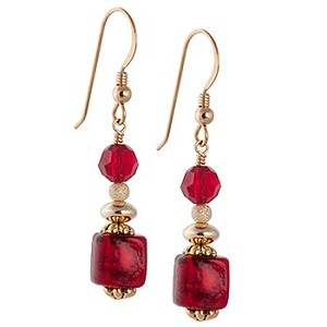 Red 24kt Gold Foil Cubes Murano Glass Earrings with Gold Fill Earwires