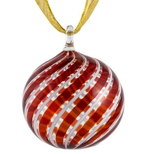 Red and White Striped Murano Glass Hanging Ornament