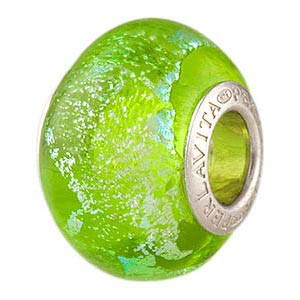Peridot Silver Sparkler Dichroic Rondel 14x10 Sterling Insert