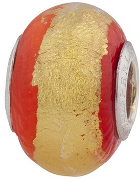Red n Gold Stripe Rondell Sterling Silver Insert
